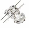 Rhinestone Spacer 2 Hole 12.5x6.5mm Half Circle Silver/Crystal